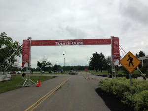 The start and finish line of Tour de Cure